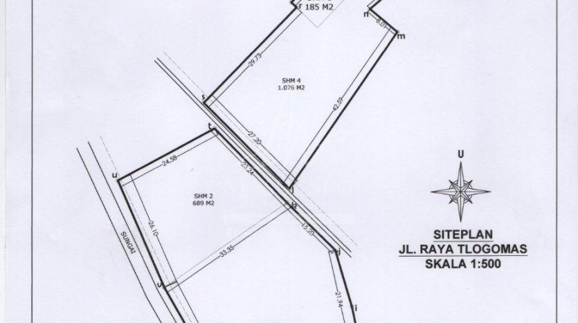 Dijual Tanah Strategis Jl Raya Tlogomas Malang